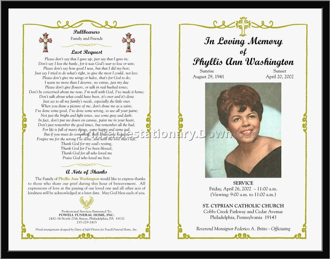 Funeral Program Templates Free Download