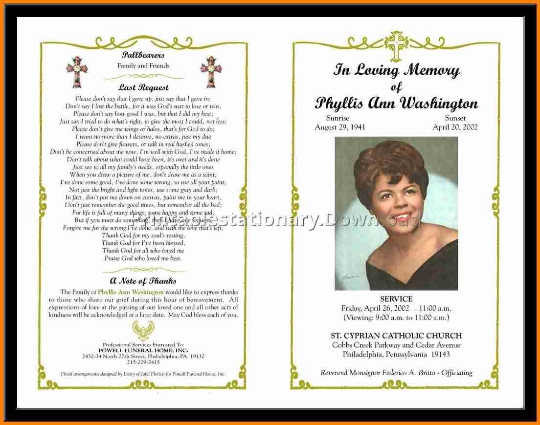Funeral Program Templates Printable