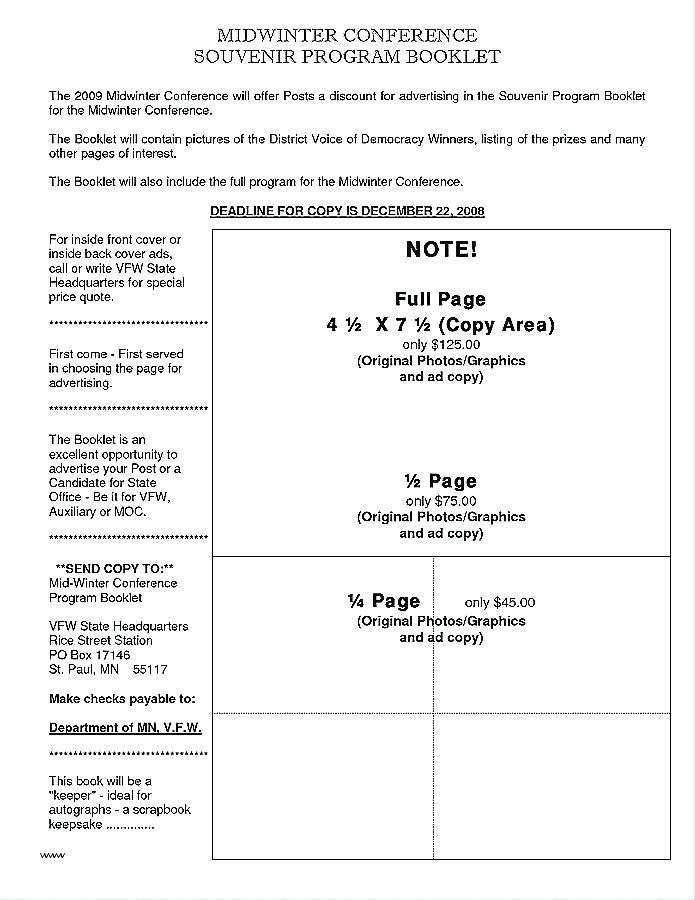 Gala Program Booklet Template