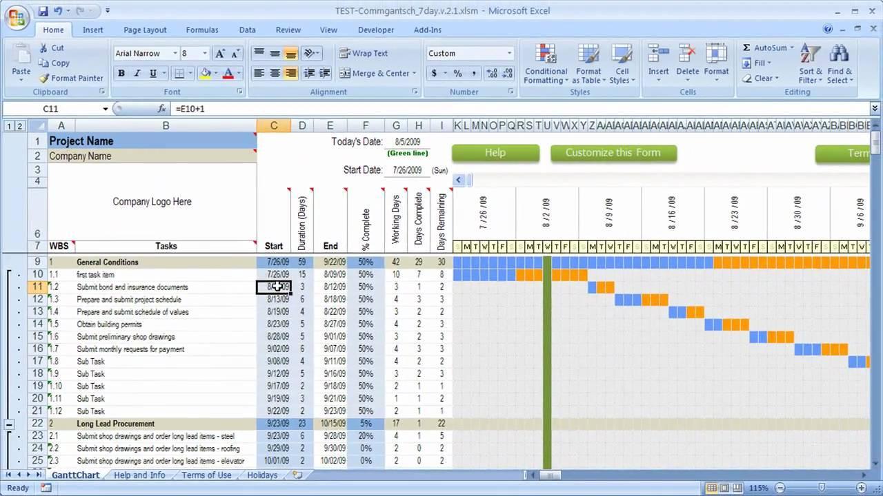 Gantt Chart Daily Schedule Template