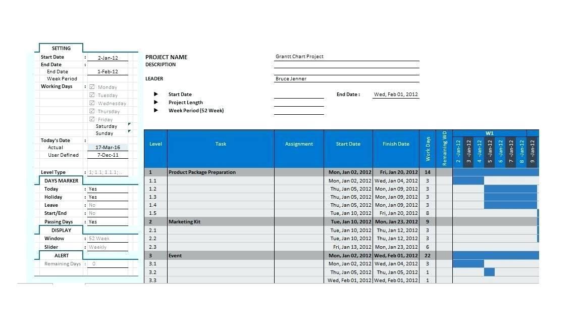 Gantt Chart Excel Template Xls 2018