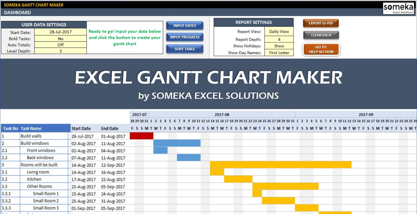 Gantt Chart In Excel 2016 Template