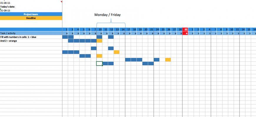 Gantt Chart Project Planner Template