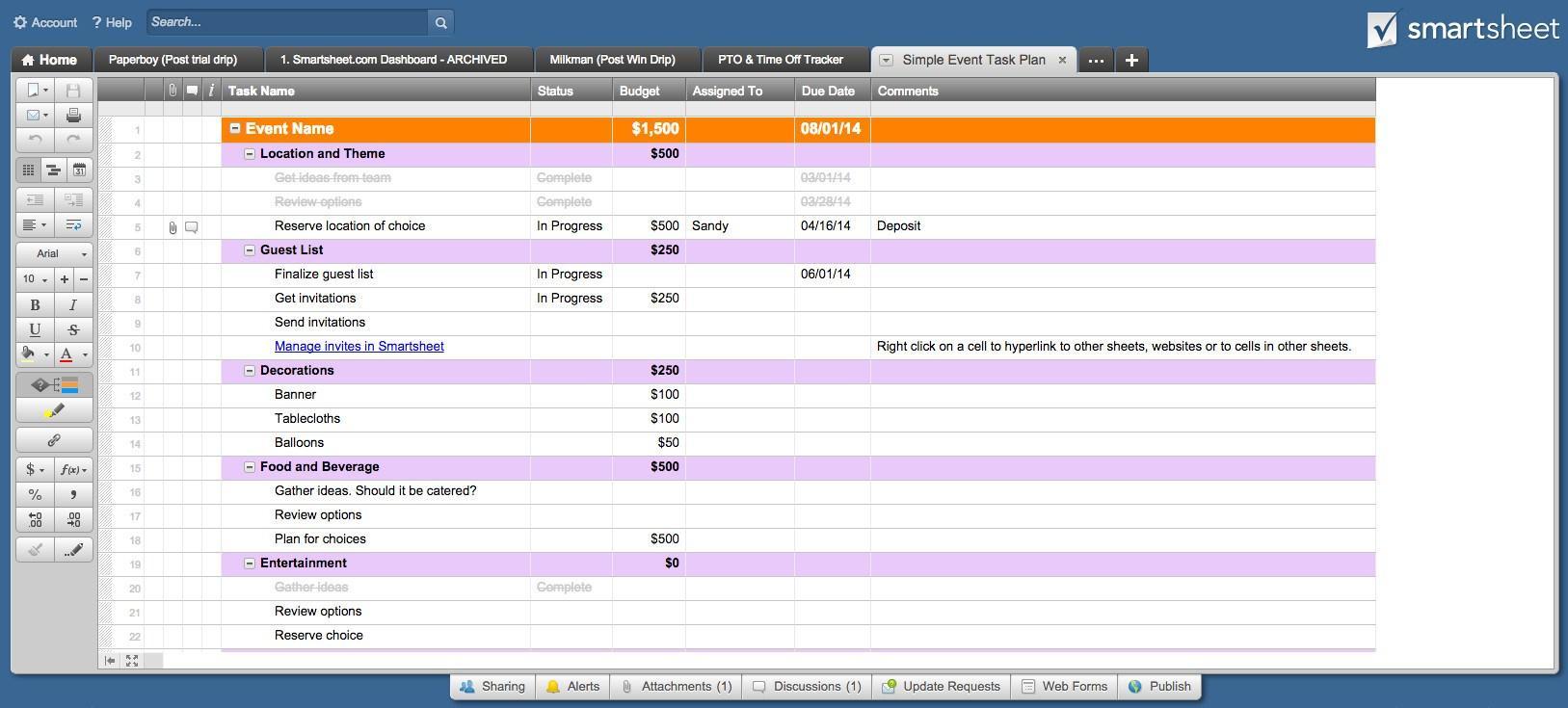 Gantt Chart Template Smartsheet