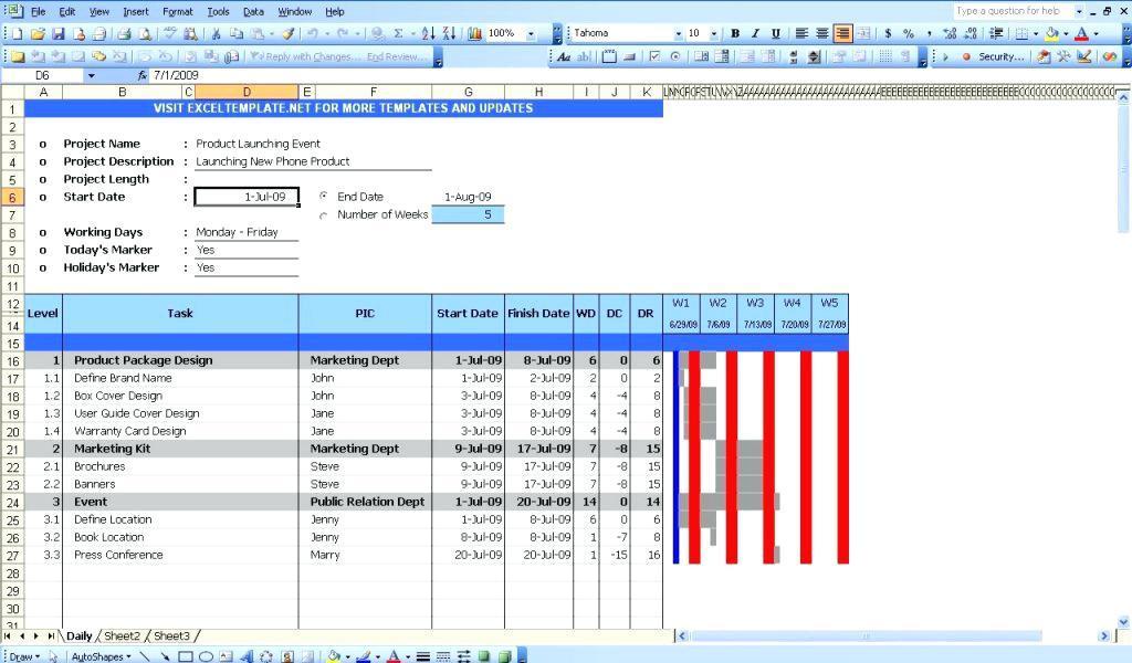 Gantt Diagram Excel Template Free