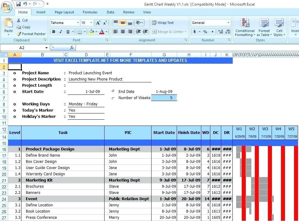 Gantt Excel 2010 Template Free