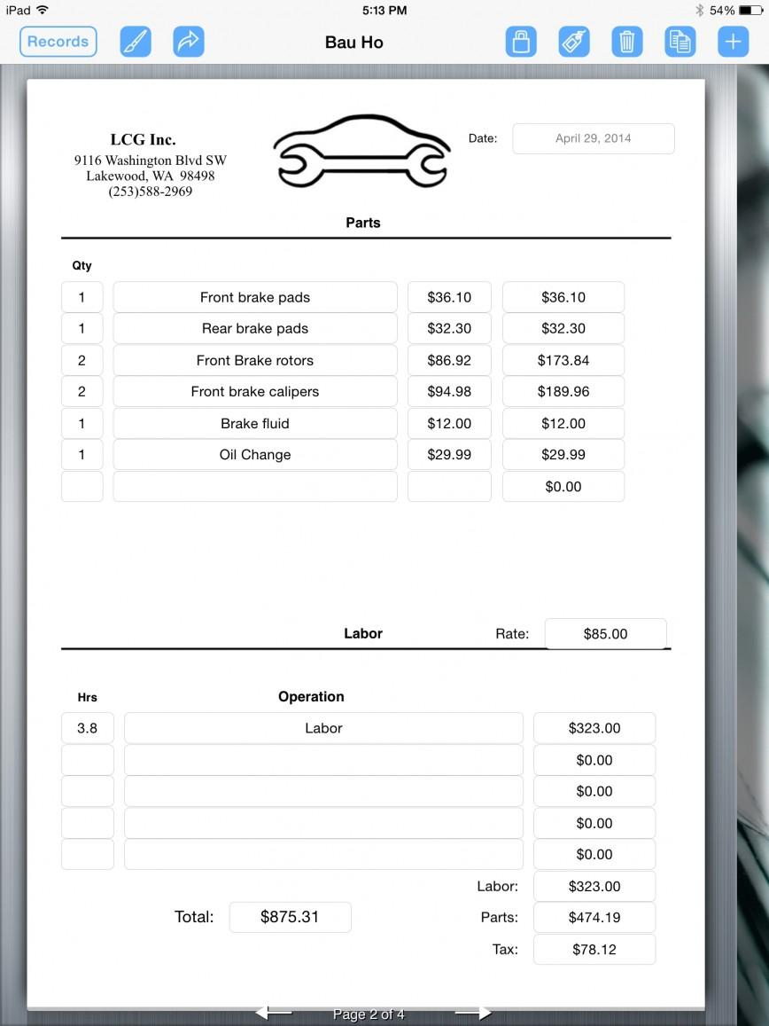 Garage Invoice Template Software