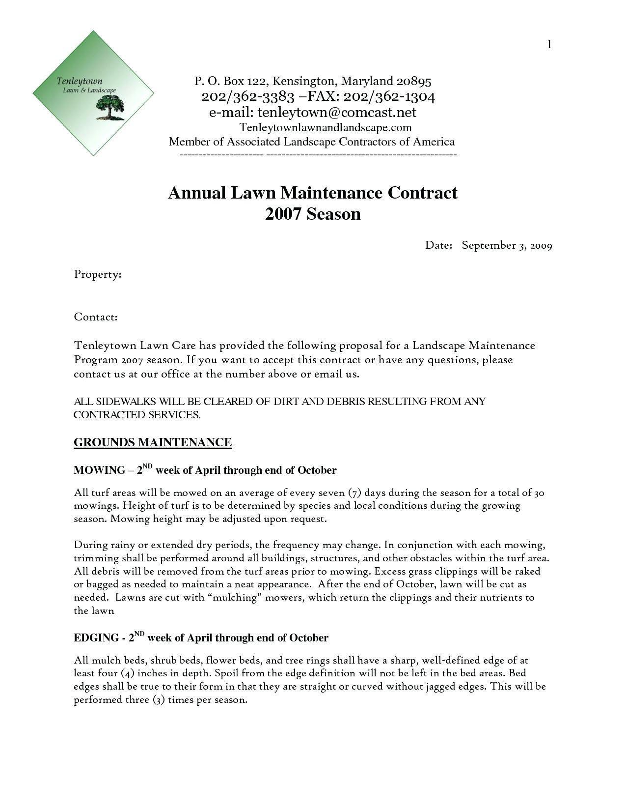 Gardening Contract Example