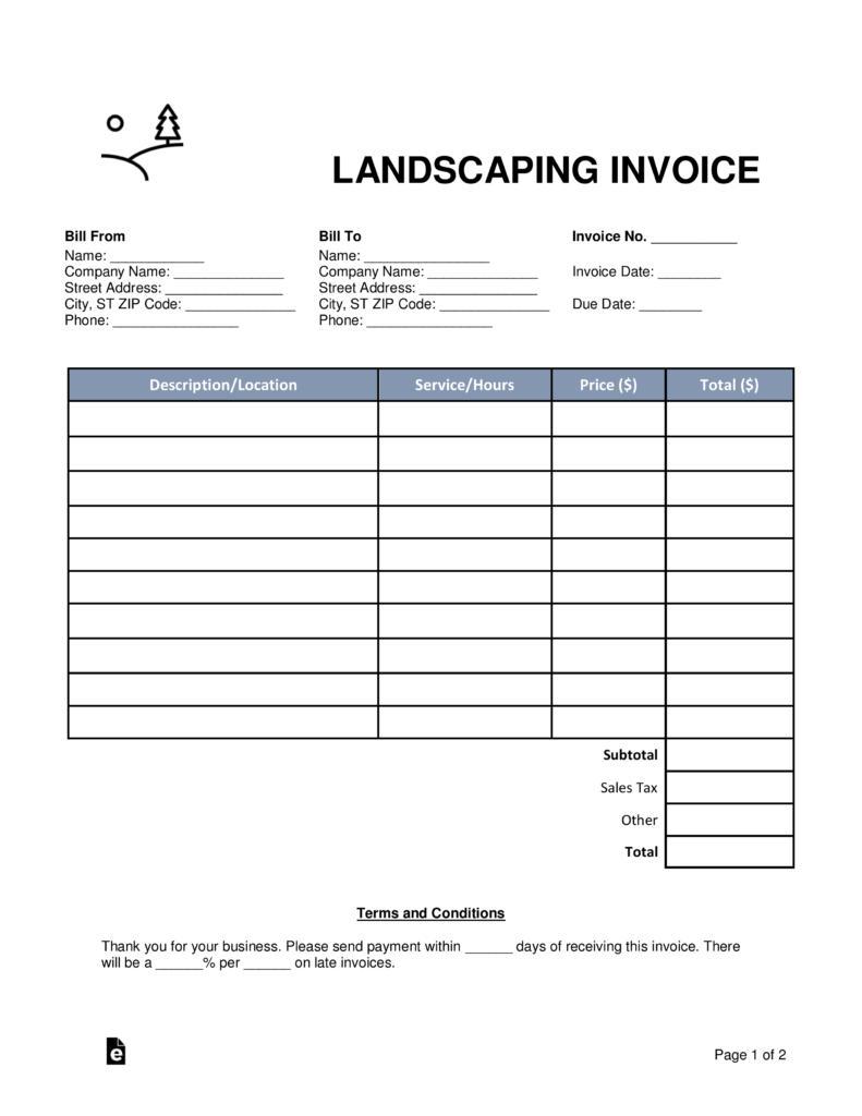 Gardening Invoice Example