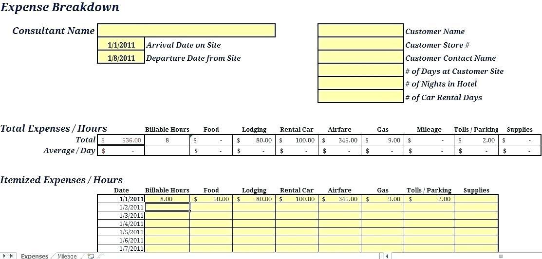 Gas Mileage Expense Report Template