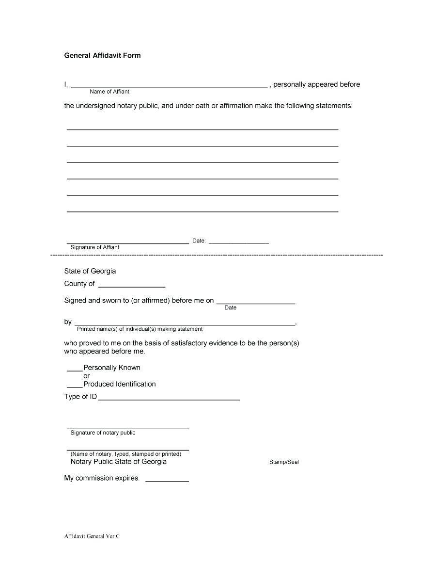 General Affidavit Form Template