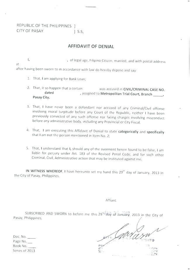 General Affidavit Template Ontario