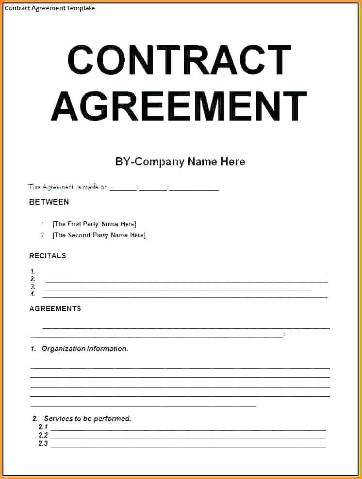 General Agreement Contract Template Free