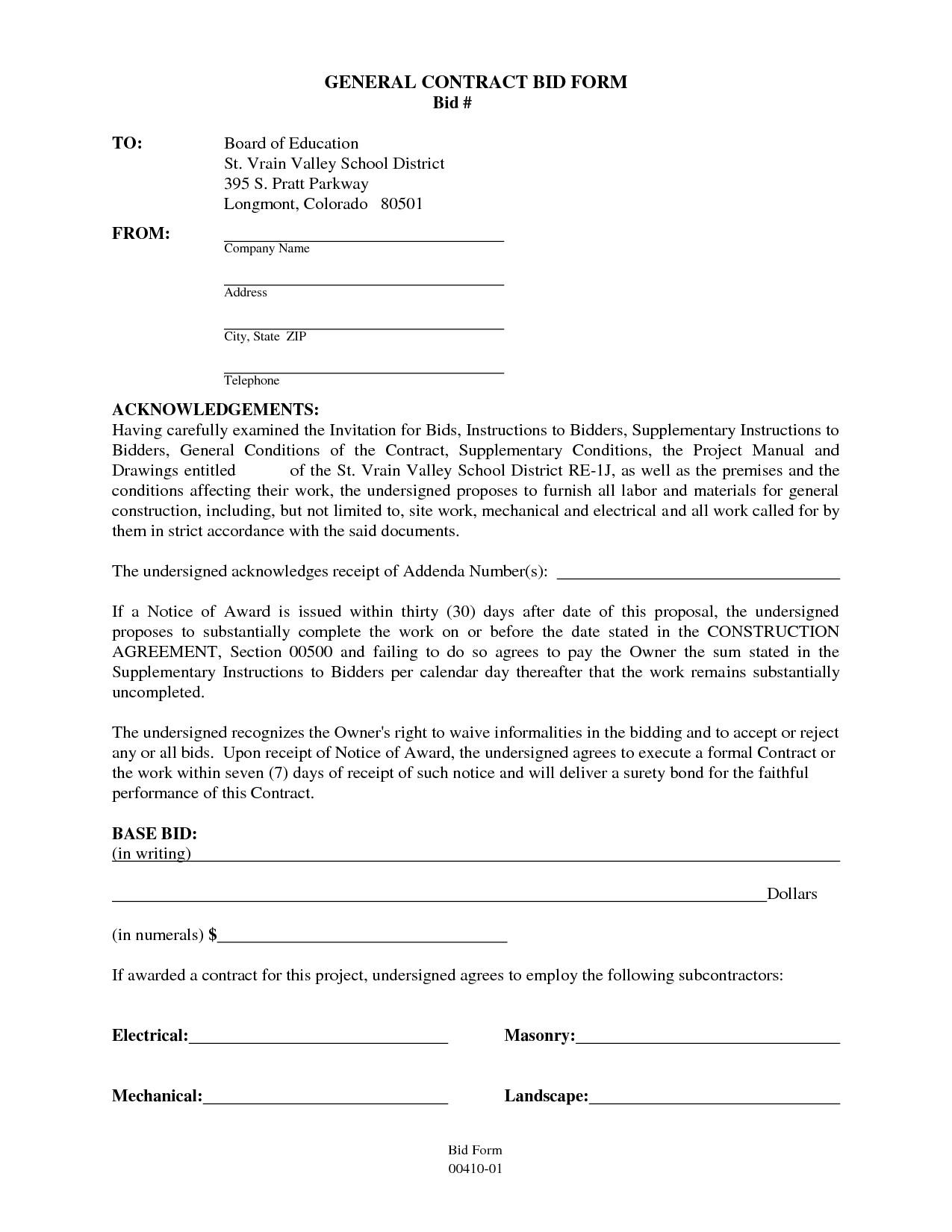 General Contract Agreement Form