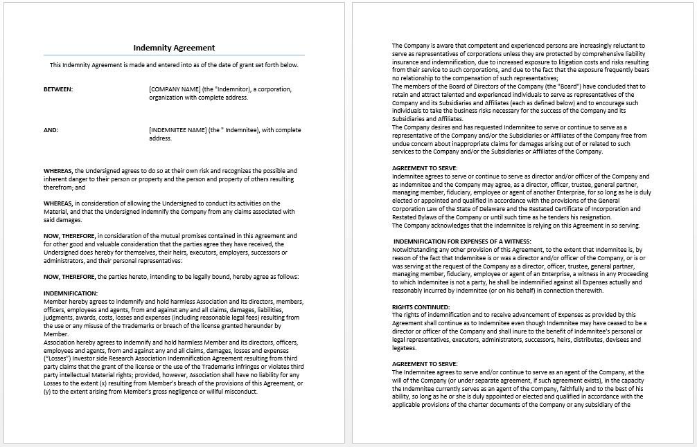 General Indemnity Agreement Template