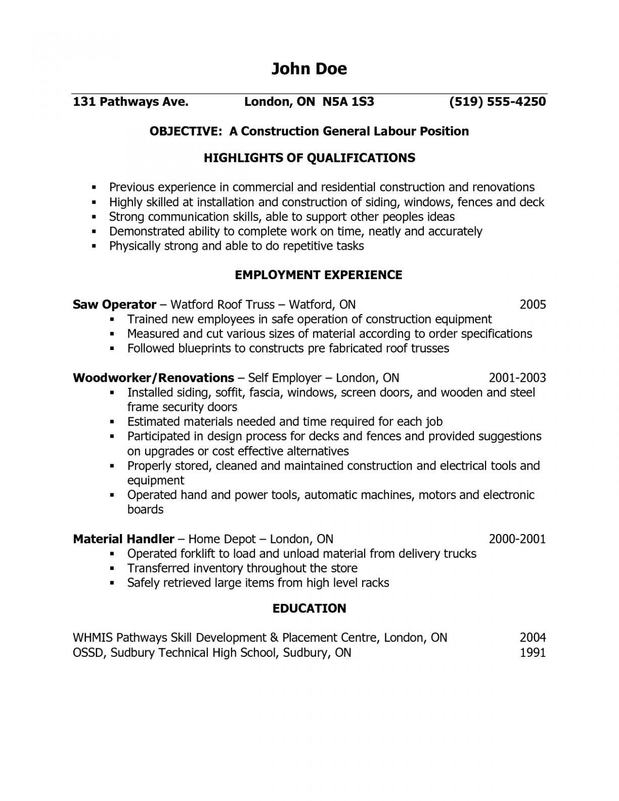 General Laborer Resume Template