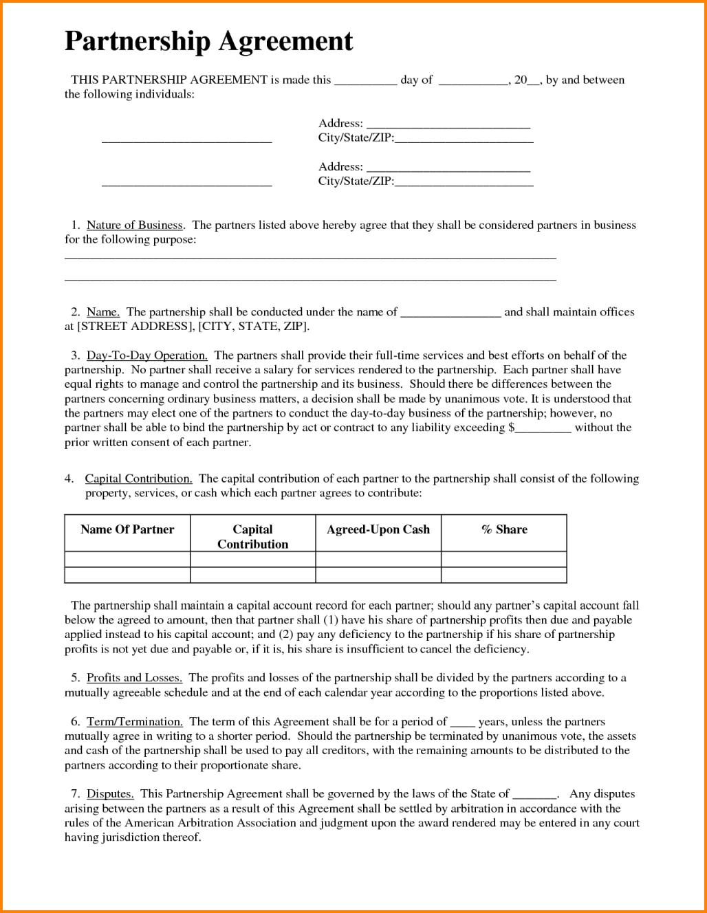 General Partnership Agreement Sample Template