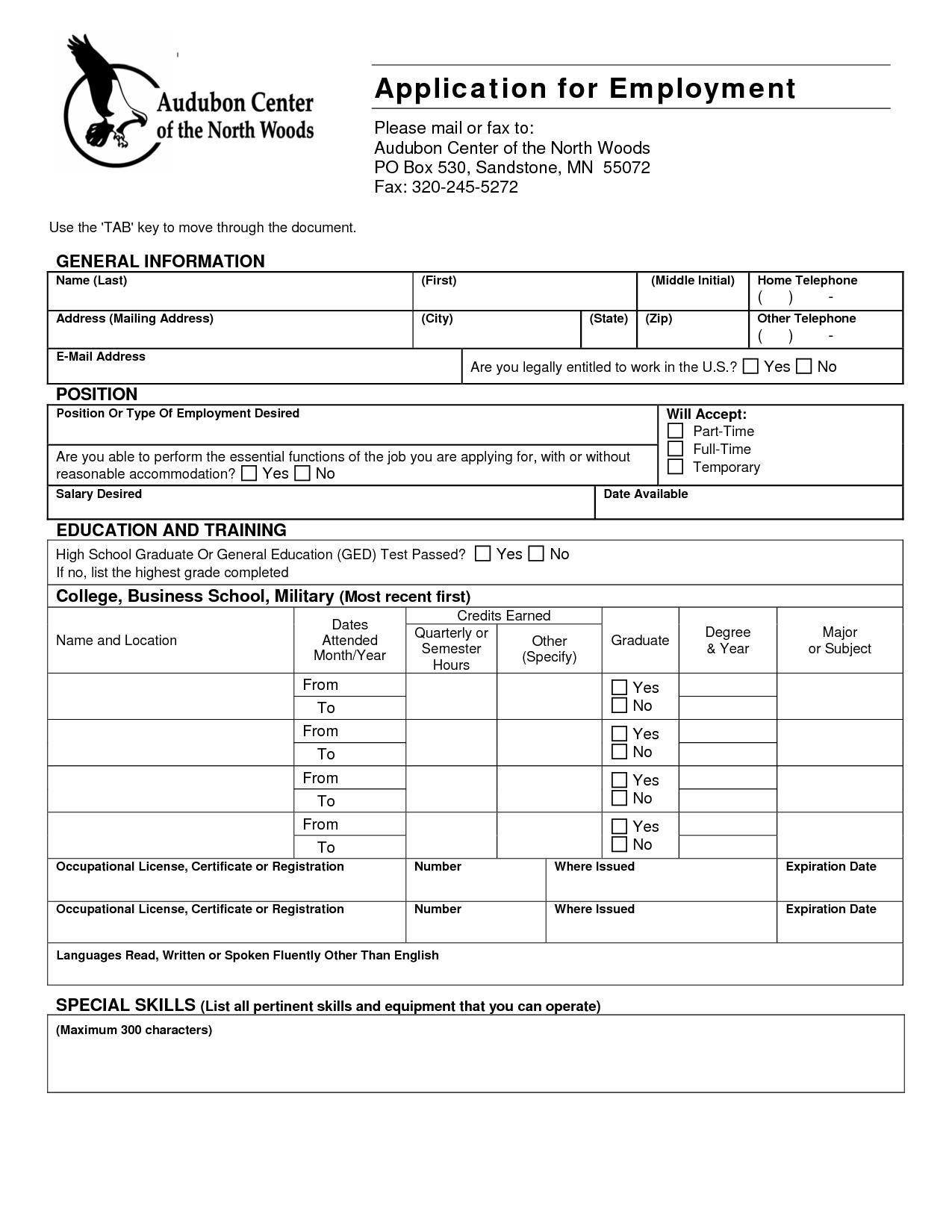 Generic Application For Employment Template