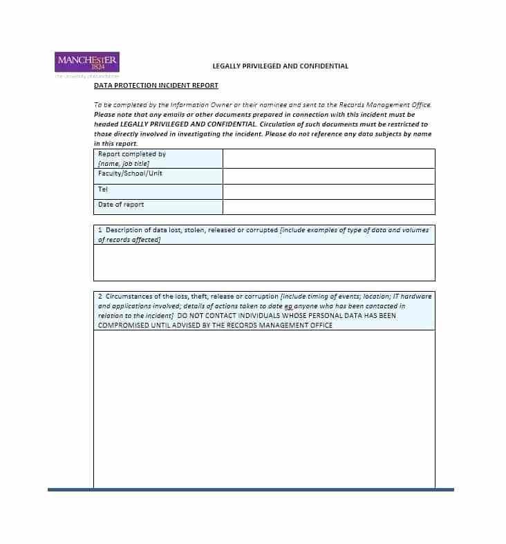 Generic Incident Report Form Pdf