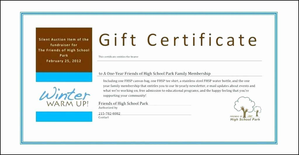 Gift Certificate Template For Fundraiser