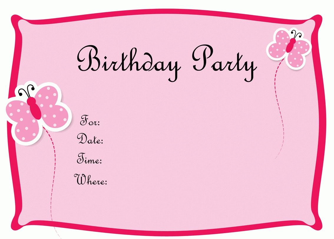 Girl Birthday Invitation Card Template Free Download