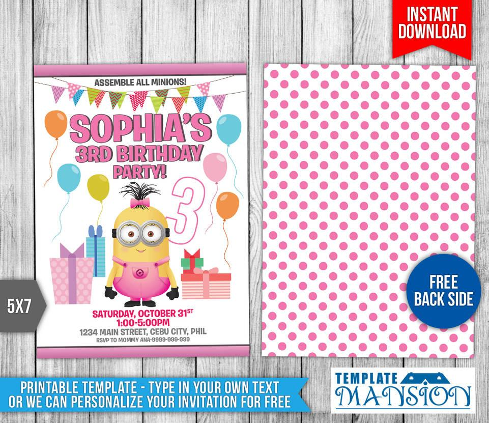 Girl Minion Invitation Template