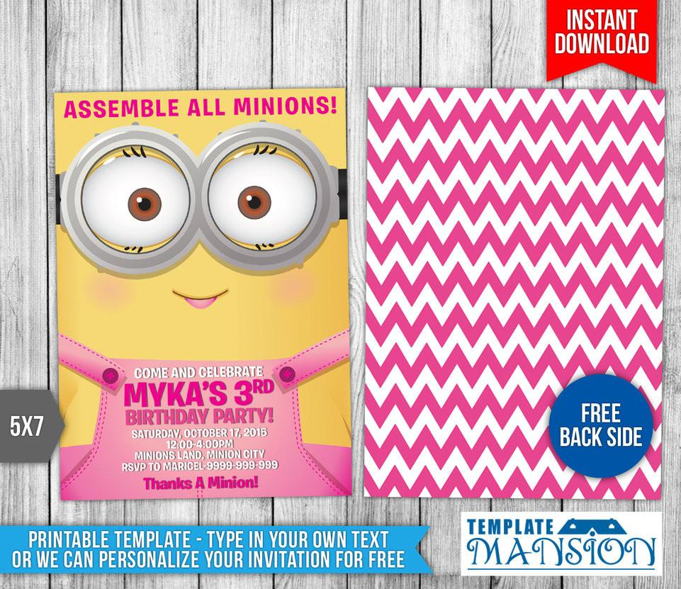 Girl Minion Invitations Template