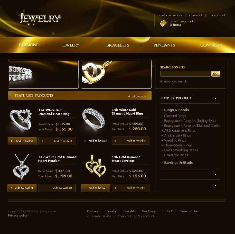 Gold Jewellery Website Templates Free Download