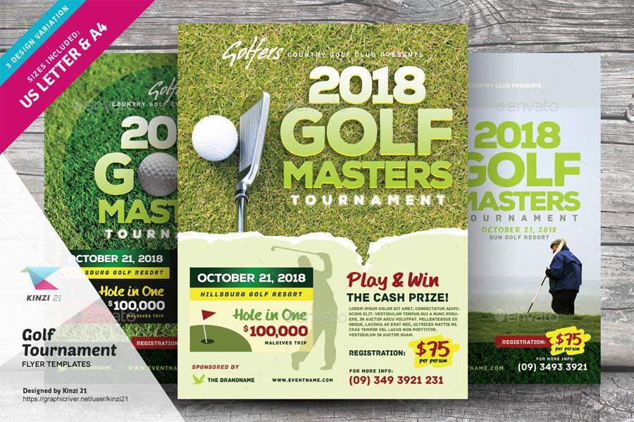 Golf Tournament Flyers Templates