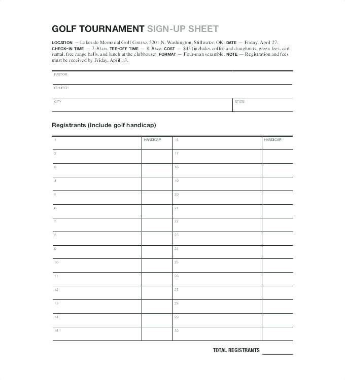 Golf Tournament Registration Form Templates