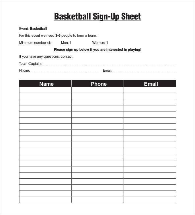 Golf Tournament Sign Up Sheet Template