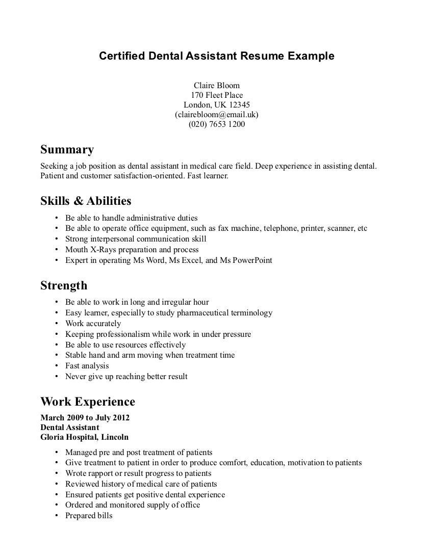 Good Resume Objectives For Dental Assistants
