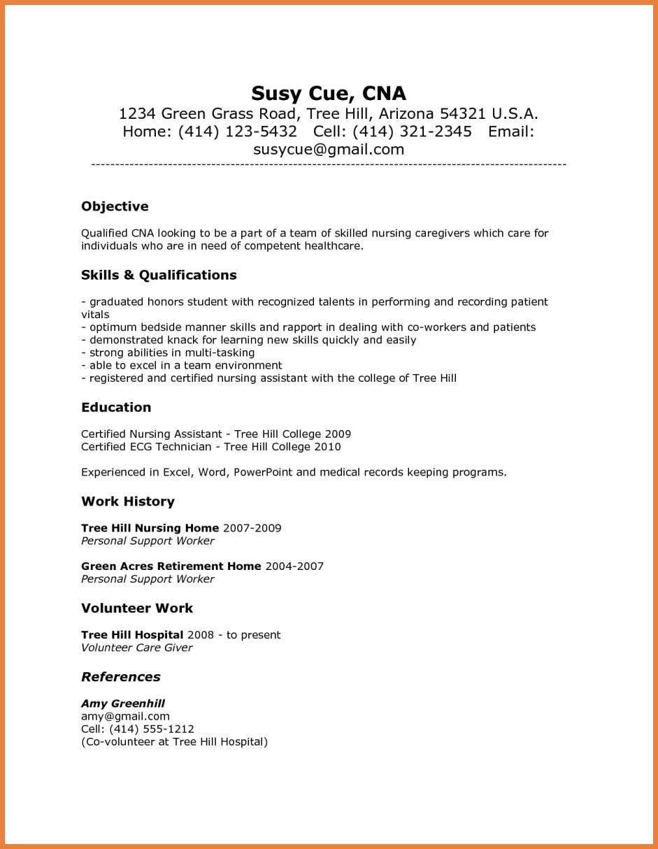 Good Resume Skills For Nursing Assistant