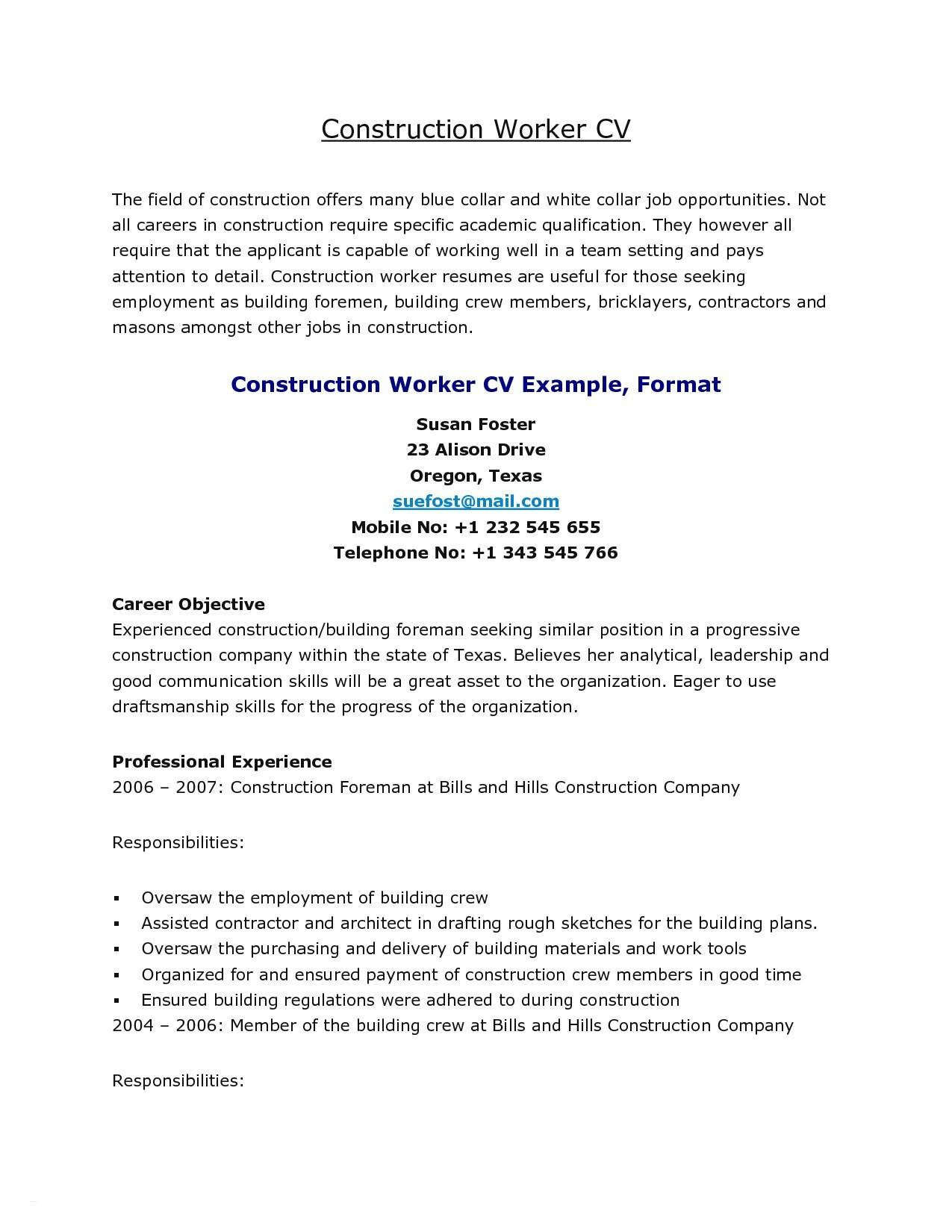 Good Resume Summary For Construction Worker
