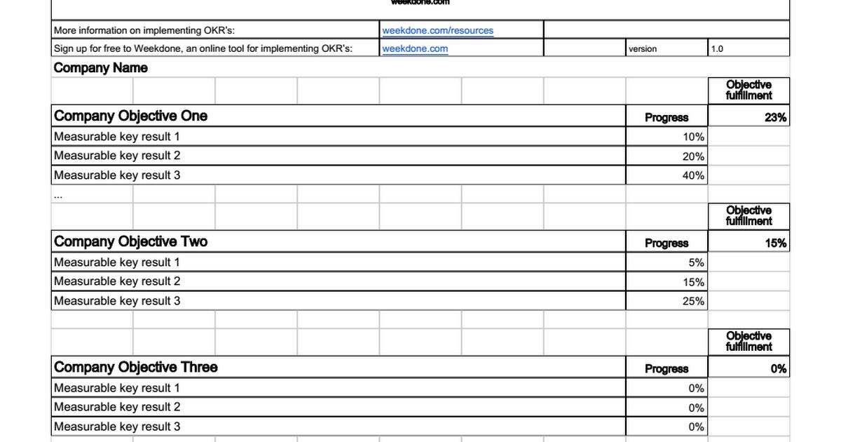 Google Sheets Okr Template