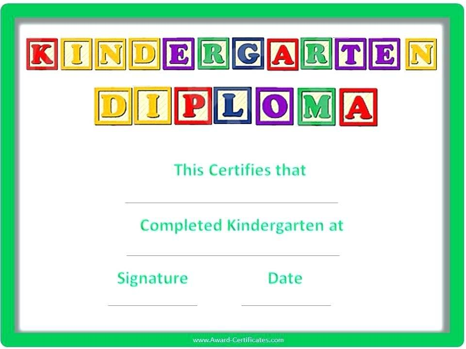 Graduation Certificate Template For Kindergarten