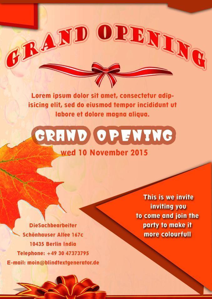 Grand Opening Invitation Templates Free