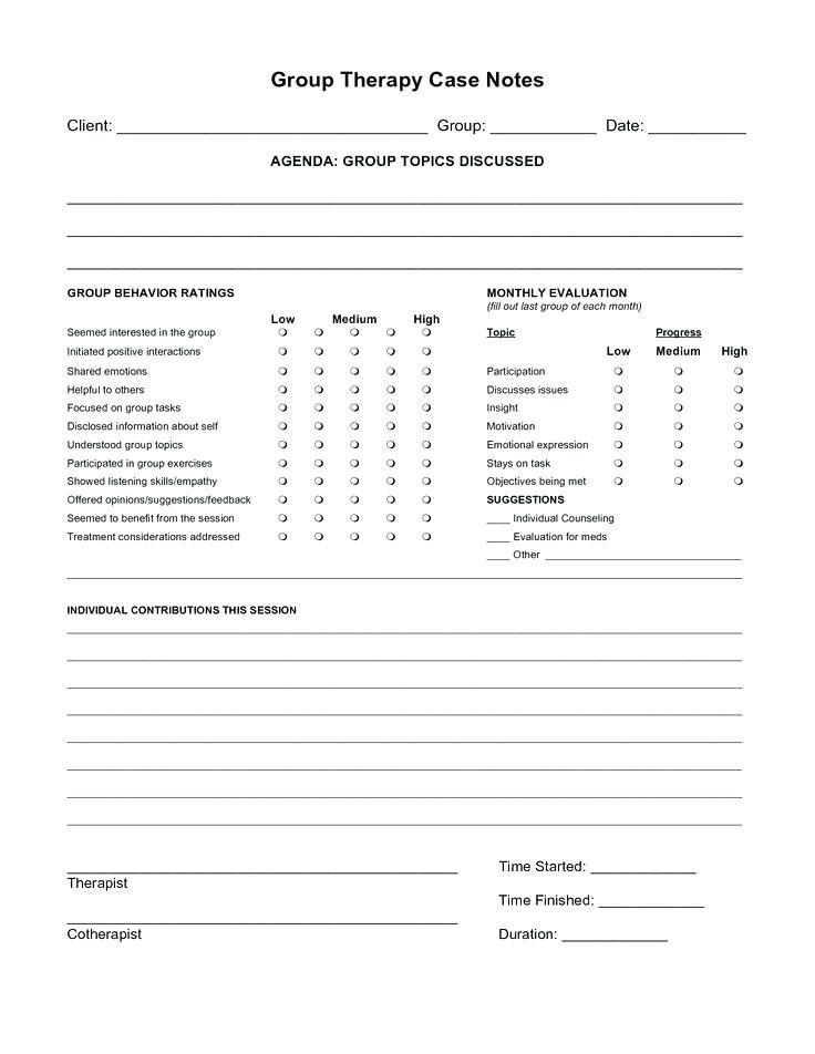 Group Psychotherapy Note Template
