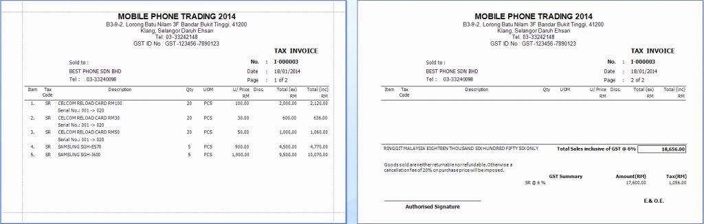 Gst Invoice Template Excel Malaysia