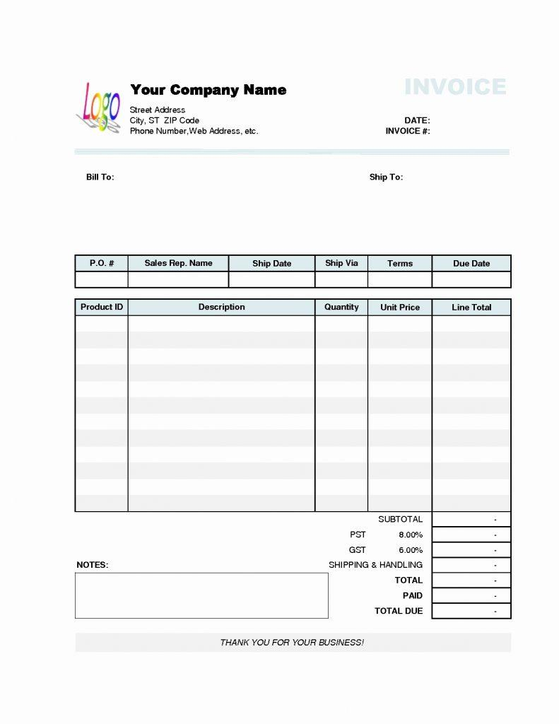 Gst Service Invoice Format Word
