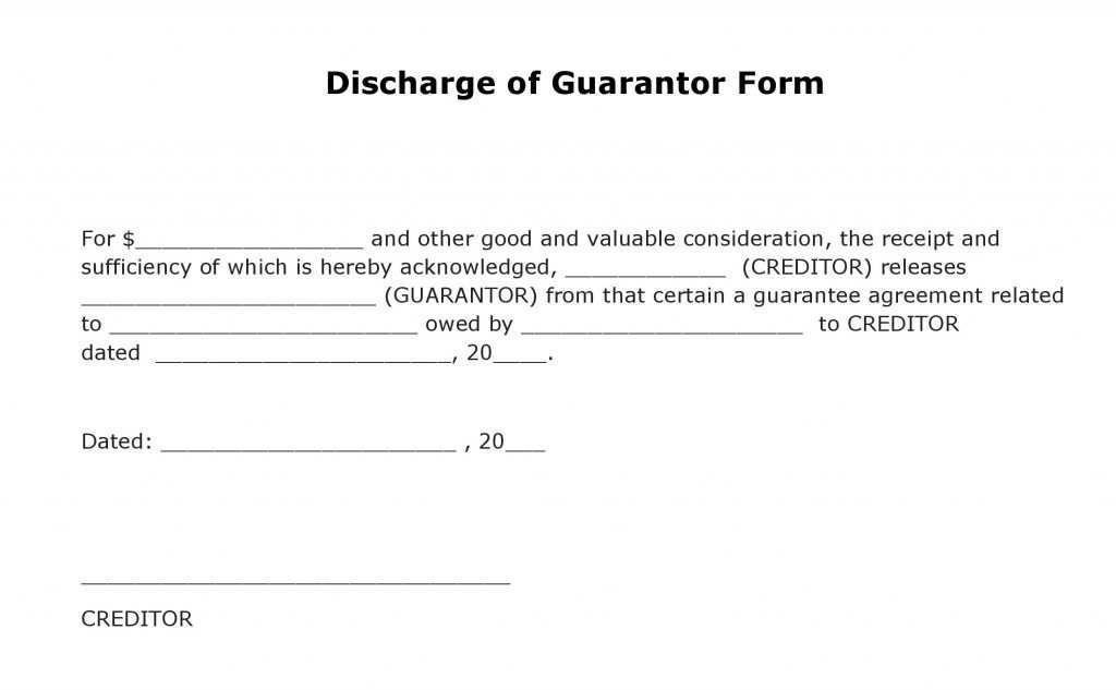 Guarantor Agreement Form Template