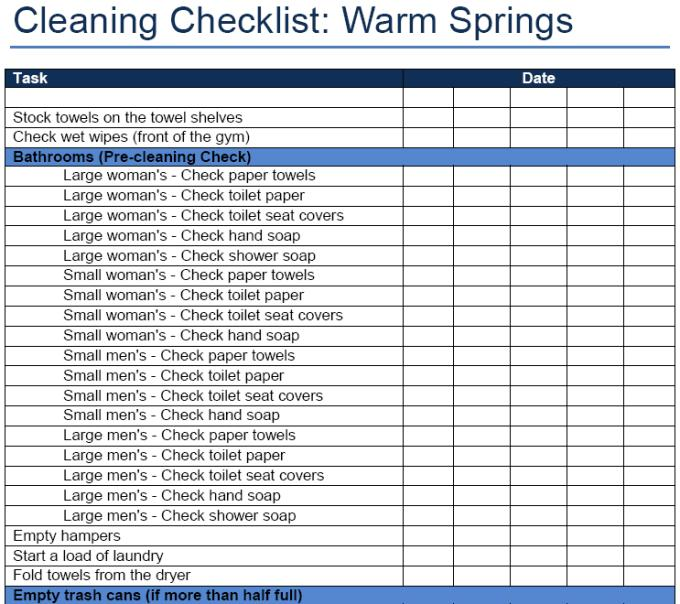 Gym Cleaning Checklist Sample