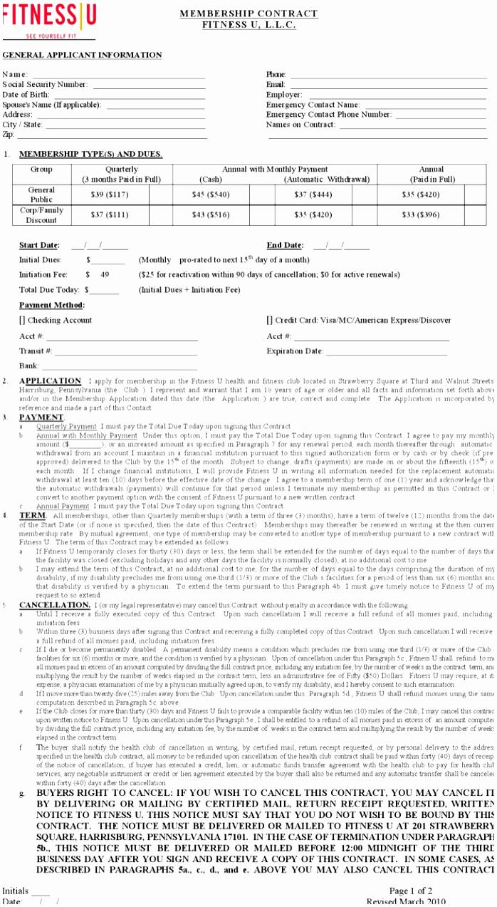 Gym Membership Contract Example