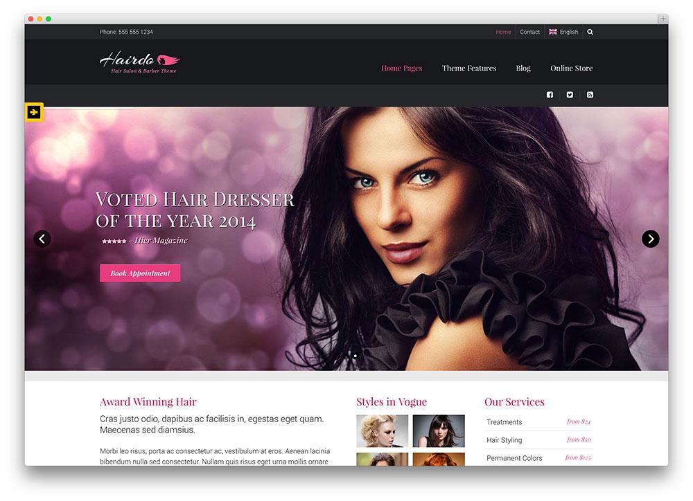 Hair Salon Website Templates WordPress