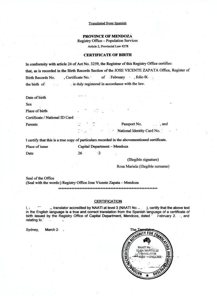 Haitian Birth Certificate Translation Template