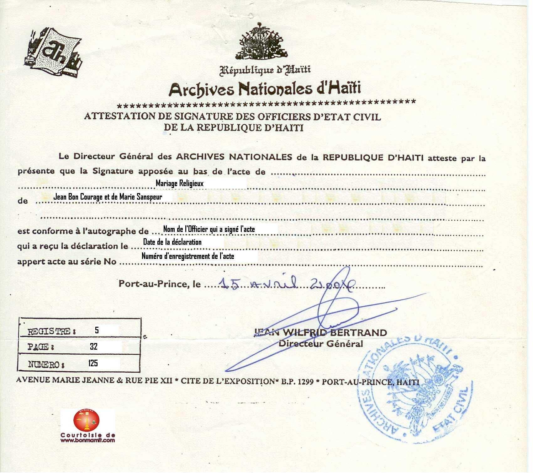 Haitian Marriage Certificate Translation Template