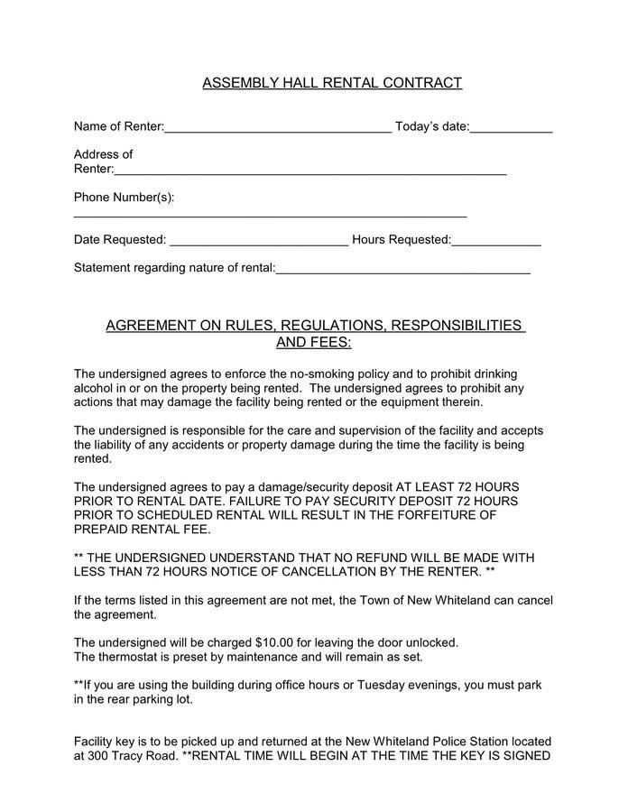 Hall Rental Agreement Template