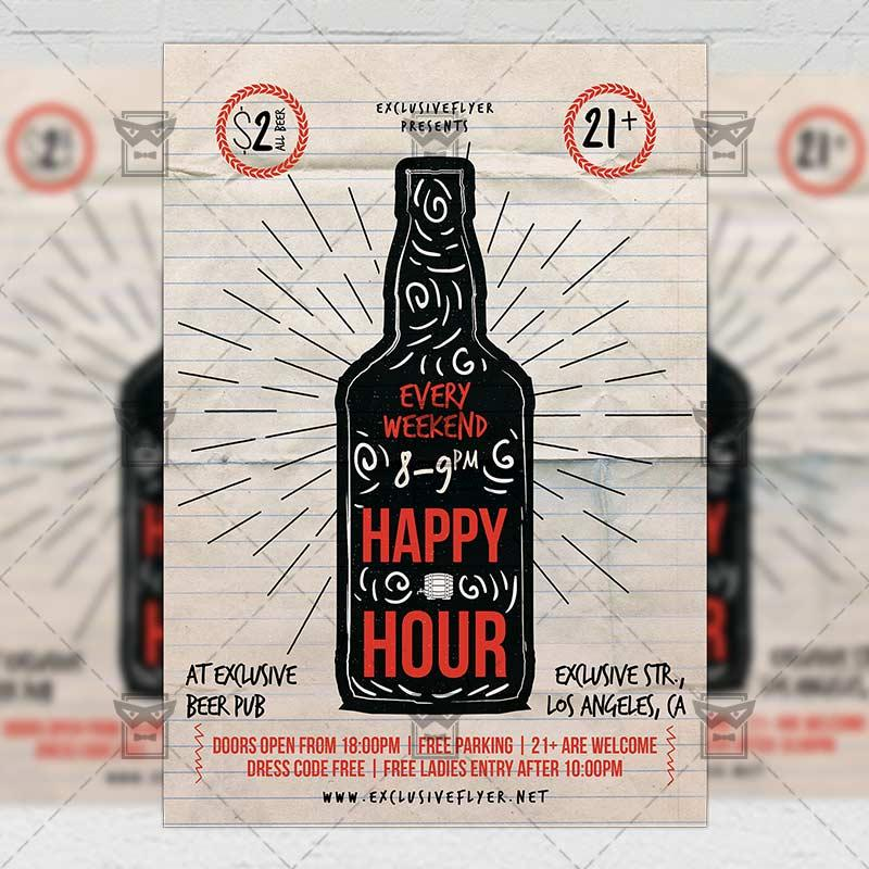 Happy Hour Flyer Template Psd Free