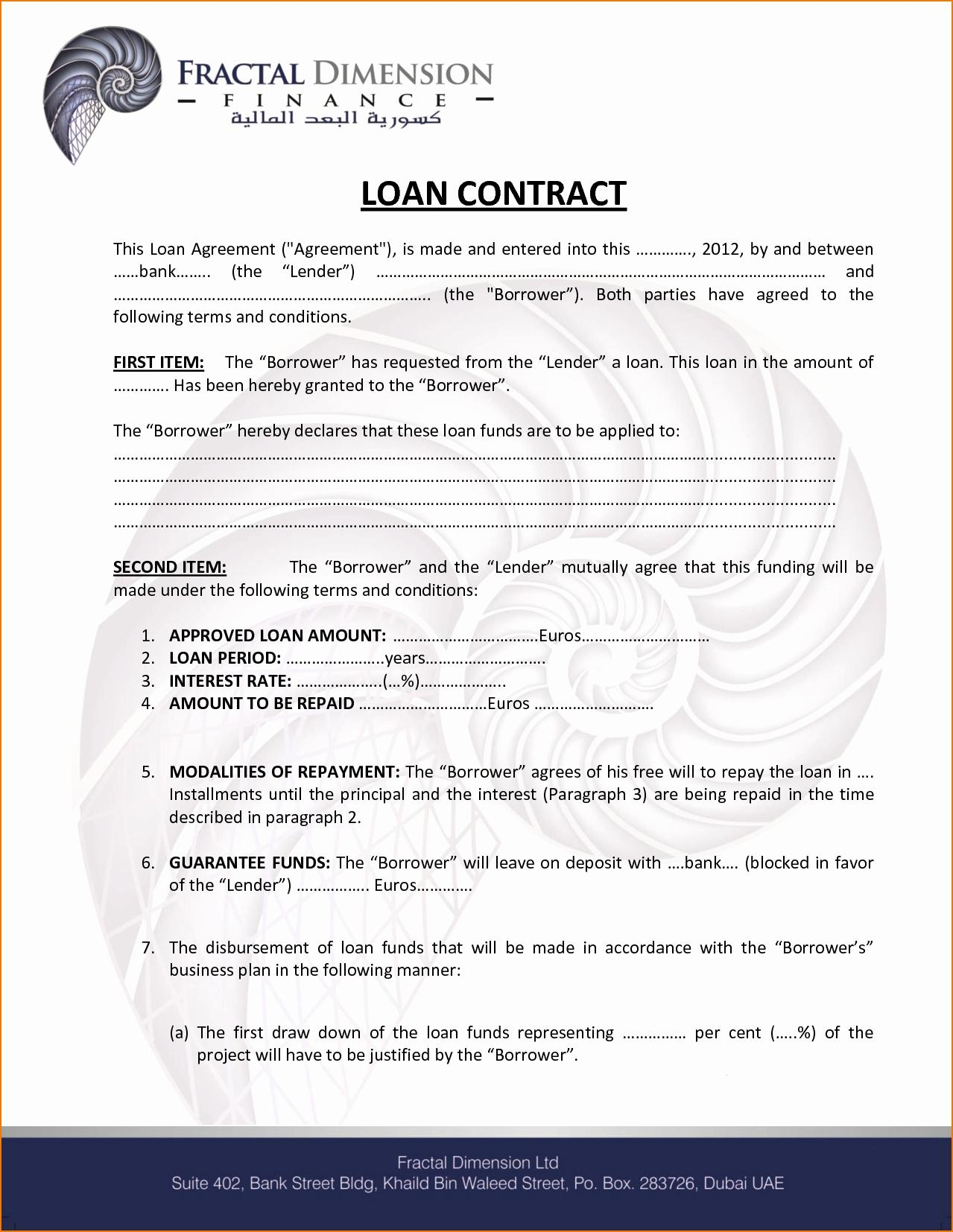 Hard Money Loan Contract Example