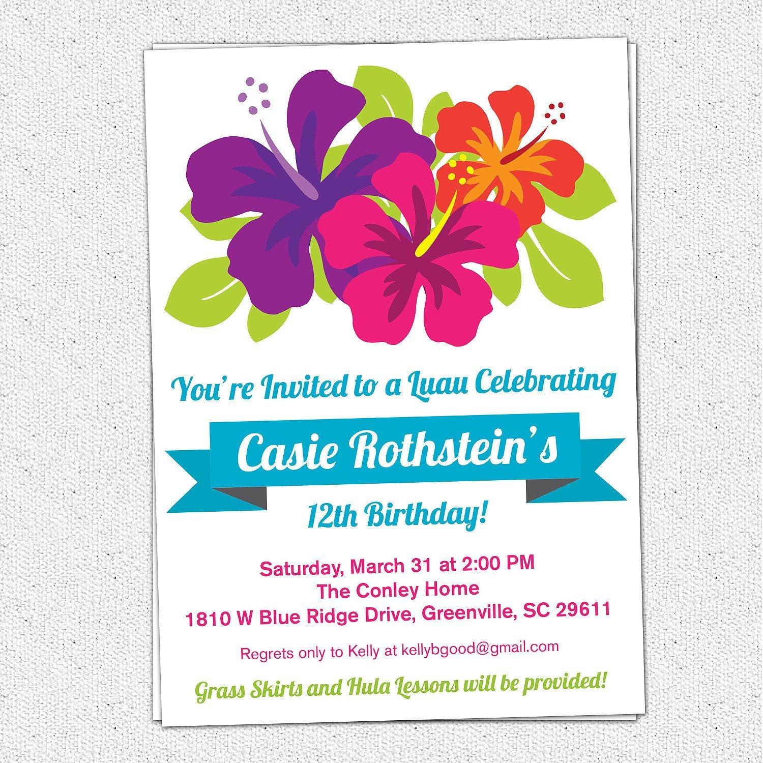 Hawaiian Birthday Invitation Template